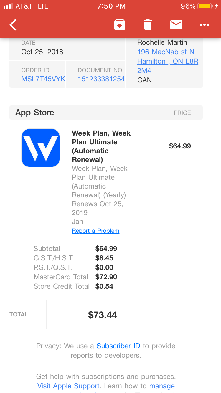 I havn't been able to use the app for a     / Support / Week Plan